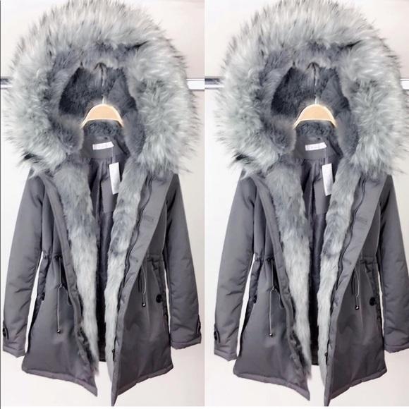 Jackets & Blazers - Grey Faux Fur Coat